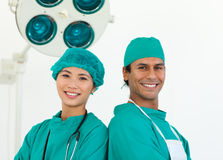 Close-up of two ethnic surgeons Stock Photography