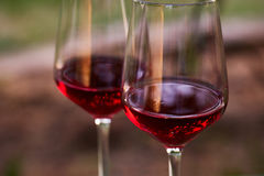 Close up of two glasses of red wine Stock Photo