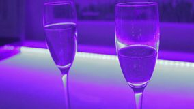 Close-up of two glasses of sparkling champagne, romantic date. Stock footage stock video footage