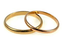 Two gold wedding rings royalty free illustration