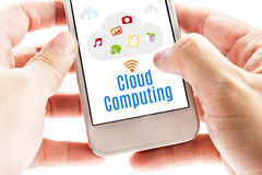 Close up Two hand holding smart phone with Cloud Computing word Stock Image