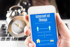 Close up Two hand holding smartphone with Internet of things wor Stock Image