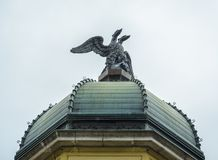 Close-up of the Two Head eagle in Rieka. Close up of the roof with the Two Headed Eagle on the top of the Rieka`s Clock tower stock photos