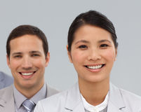 Close-up of two international co-workers Stock Photo