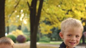 Two happy little boys throwing yellow leaves in autumn Park. Children in park. stock video footage