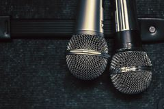 Close up two microphone for duo sing a song. Concept Stock Images