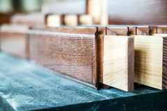 Several new wooden boards in joinery Stock Photos