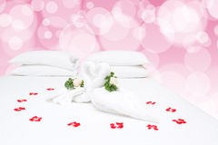 Close up of two nice towels swans Royalty Free Stock Photos