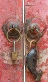 Close up of two padlocks regular shape and fish shape Stock Photo