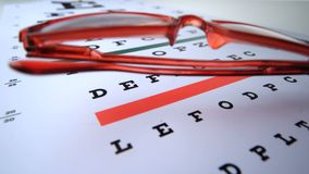 Close up of two pairs of glasses falling on eye test Stock Photos
