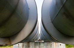 Close up of two parallel pipelines Royalty Free Stock Photo