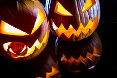 Close-up of two pumpkins for Halloween stock image
