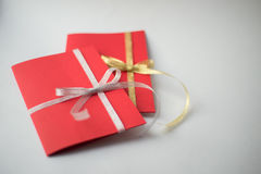 Close up of two red greeting cards with copy space Royalty Free Stock Photos