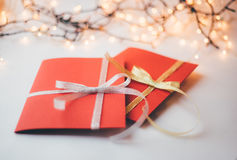 Close up of two red greeting cards with copy space Royalty Free Stock Images