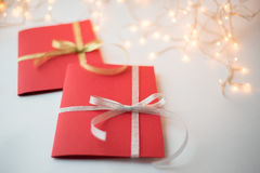 Close up of two red greeting cards Stock Photography
