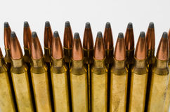 Close-up of two rows of bullets Royalty Free Stock Image