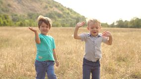 Two children waving their hands at camera in Park. Close-up of two small boys playing in a dry field at sunset in rural areas, they wave their hands at the stock video