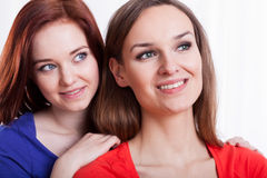 Close-up of a two smiling female friends Stock Photos