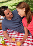Close-up of two smiling friends lying on a blanket with a picnic Stock Photo