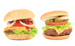 Close up of two tasty hamburgers. Royalty Free Stock Photography