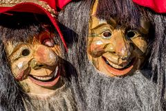Close-up of two traditional Fasching ,carnical, masks in Germany royalty free stock photography