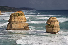 Close up two of the Twelve Apostles. Australia Royalty Free Stock Images