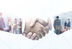 Businessmen shaking hands, big contract concept Stock Image