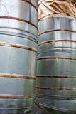 Close up of two vertical metal pipelines Stock Photography