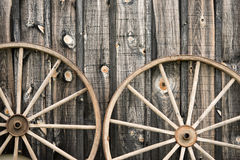 Close Up of Two Wagon Wheels Stock Photo