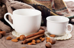 Close-up of two white coffee cups Royalty Free Stock Photos