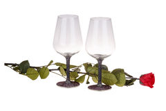Close-up of two wine glasses with red rose Royalty Free Stock Images