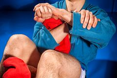 Man wrestler makes submission wrestling stock image