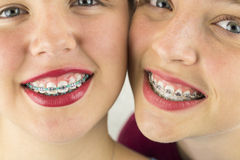 Close up of Two Young Girls Faces Stock Photos