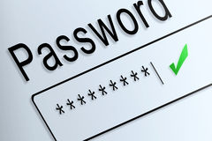 Close-up type password correct protect on screen, beware social. Online stock photos