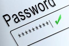 Close-up type password correct protect on screen, beware social Stock Photos