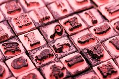 Close up of type set rubber stamps Royalty Free Stock Image