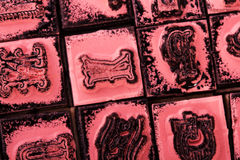 Close up of type set rubber stamps Royalty Free Stock Photo
