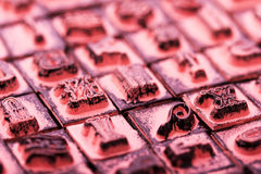 Close up of type set rubber stamps Stock Photography