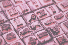 Close up of type set rubber stamps Vintage Retro Filter. royalty free stock images