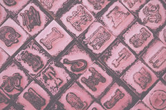 Close up of type set rubber stamps Vintage Retro Filter. Stock Photos