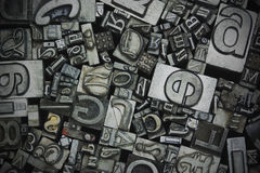 Close up of typeset letters Royalty Free Stock Photos
