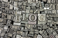 Close up of typeset letters with the word Blog Royalty Free Stock Images