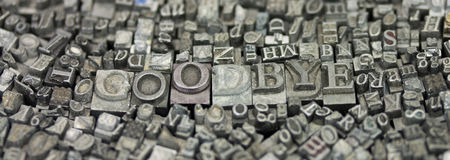Close up of typeset letters with the word Goodbye Royalty Free Stock Photo