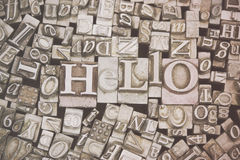 Close up of typeset letters with the word Hello Stock Image