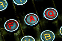 Close up on typewriter faq keys. Close up on old grunge typewriter faq keys royalty free stock photography