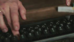 Close up of typewriter. Close up shot of old typewriter`s detail stock footage