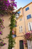 Close-up of a typical French Mediterranean corner, with its pink facades and buildings, tendrils with purple oliander flowers an o. Close-up of a typical fFre Stock Photo