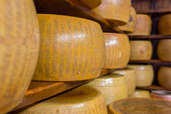 Close up of typical Italian hard Parmesan cheese on the shelves Stock Image