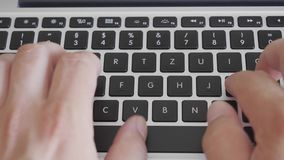 Close up - typing hands on keyboard. Close up - typing hands on black keyboard  - 4k video stock footage