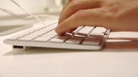 Close up typing on Keyboard,Computer Literate Operator. stock video footage